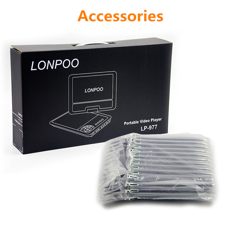 LONPOO nuevo 9 pulgadas reproductor de DVD portátil pantalla giratoria VCD CD MP3 reproductor de DVD tarjeta SD USB RCA Cable de TV juego cargador de coche reproductor de DVD - 5
