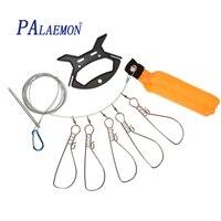 PALAEMON Stainless Steel Fishing Lock Buckle 5 Locks Chain Stringer With Float Live Fish Lock Belt