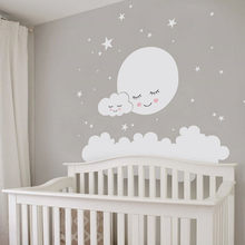 Lovely White Cloud And Stars Mural Decal Babys Bedroom Nursery Decor PVC Self-adhesive Wallpaper Moon Wall Sticker For Kids Room(China)