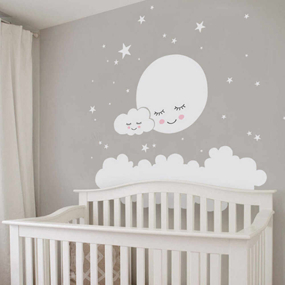 Lovely White Cloud And Stars Mural Decal Babys Bedroom Nursery Decor Pvc Self Adhesive Wallpaper Moon Wall Sticker For Kids Room Aliexpress