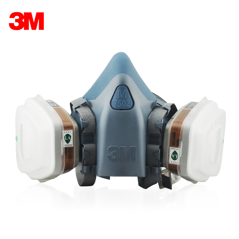 3M 7502+6001 Original Respirator Half Face Mask Painted Activated Carbon Organic Vapor Gas Benzene CS2 Acetone M2117 3m 6200 6009 reusable half face mask respirator mask mercury organic vapor chlorine acid gas cartridge vapor lt102