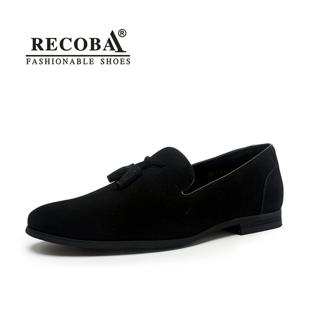 Brand Men casual loafers plus size 11 black velvet suede leather tassel  penny loafers moccasins slip