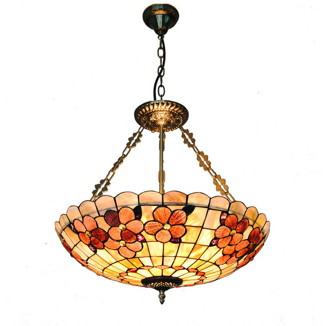20  Vintage Stained Glass 5 Lights Inverted Pendant Light Baroque Style Shell L&shade Restaurant Bar  sc 1 st  AliExpress.com & 20