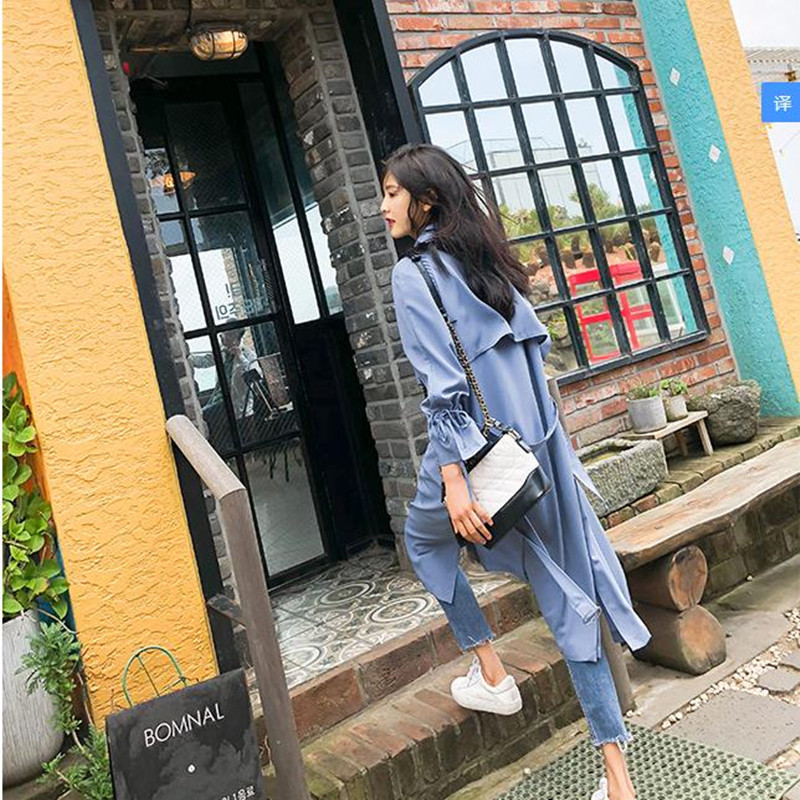 Temperament Windswear Medium And Long-Style New Loose Knee Windswear Coat Thin