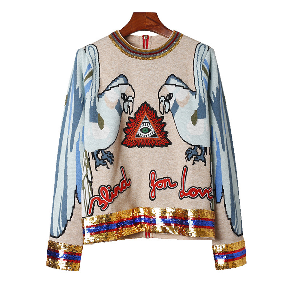 Boho knitted sweater pullovers 2017 new winter two birds embroidered long sleeve Back zipper Casual chic