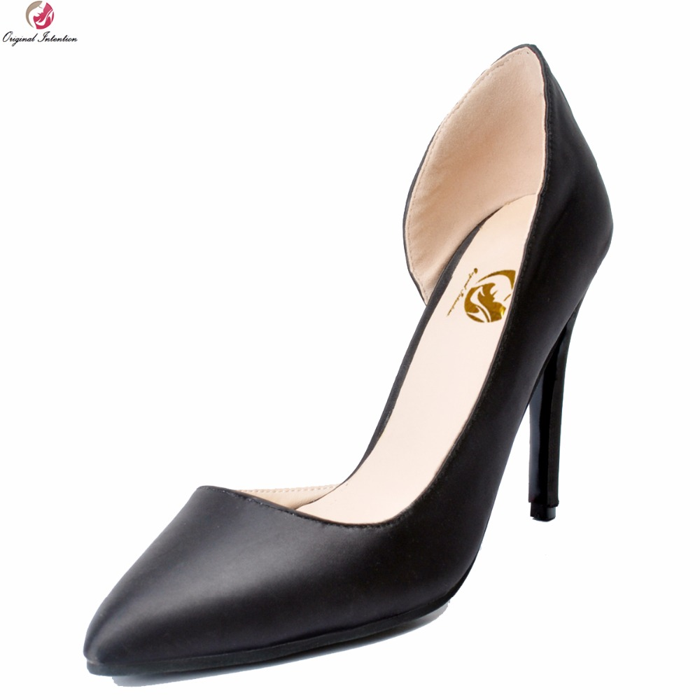 Original Intention Nice Elegant Women Pumps Fashion Pointed Toe Thin High Heels Pumps Charm Black Shoes Woman Plus US Size 4-15