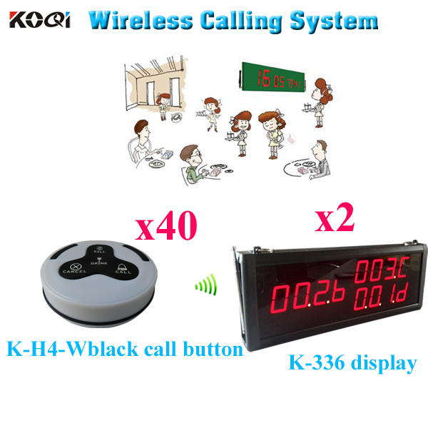 Wireless Paging System For Restaurant Vibrating Transmitter Long Range Distance Receiver ( 2 display 40 call button)