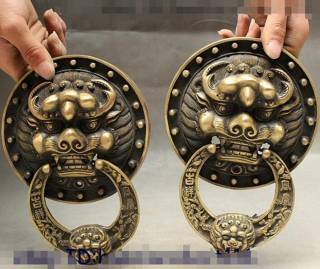 8  Chinese Palace Dragon Foo Fu Dog Guardion Lion Door knocker Gate Pair & 8