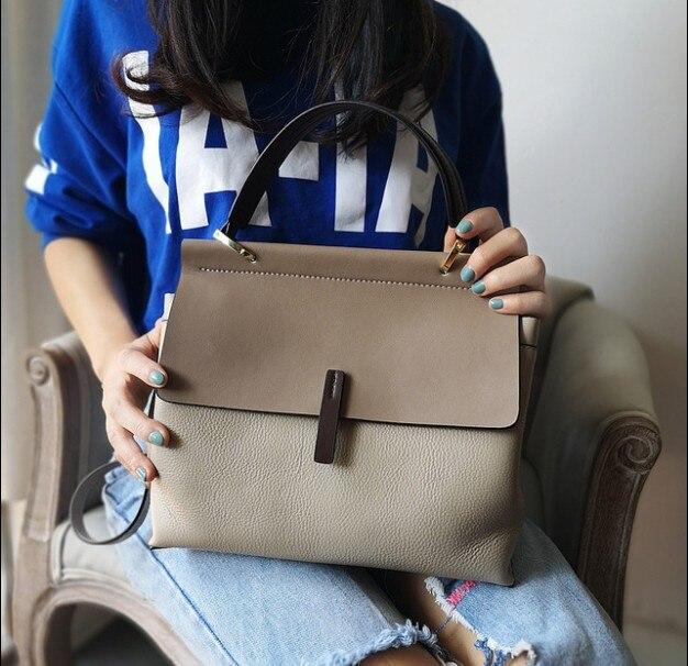 Dames décontracté fourre tout 100% en cuir véritable sacs à main de luxe femmes sacs à bandoulière Designer femme Messenger sac à main de mode-in Bandoulière Sacs from Baggages et sacs    1