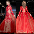 New Evening Dresses Floor Length Tulle Embroidery Red Long Sleeve Evening Gowns 2015 FOUAD SARKIS
