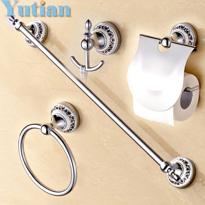 Free shipping stainless steel ceramic bathroom accessories set robe hook paper holder towel for Ceramic towel hooks for bathrooms