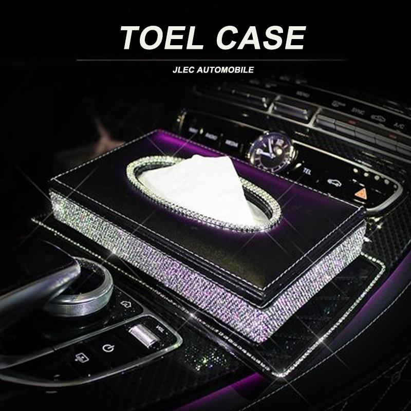 Car Tissue Box Storage Towel Sets Bathroom Auto Room Sun Visor Towel Box Holder PU Leather Tissue Box with Luxurious Cover