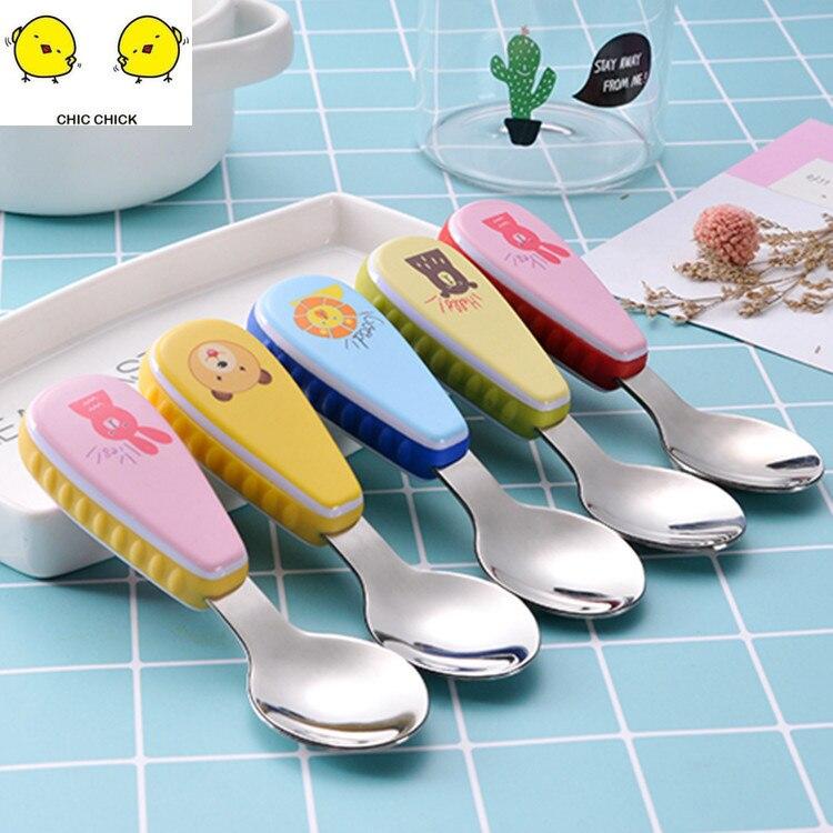1 Set Cute Baby Cutlery Children's Tableware Cutlery Baby Food Feeding Spoon Fork Three Styles Optional New Children's Utensils