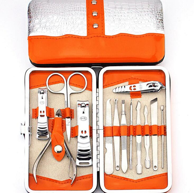 13pc Nail Art Tools Manicure Set with Cuticle Clipper Ear Pick Dead Skin Fork Nails File Care Kits nail cuticle cutter grooming tool stainless steel finger toe nail dead skin cuticle scissor nail clipper nipper manicure tool