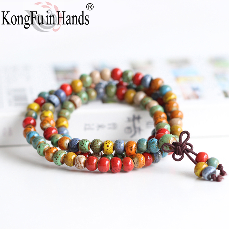 Ceramic Multilayer Bracelet Colorful Round Beads 0.6cm Diameter 54cm Long Flexible Rope Vintage Style Beaded Bracelets For Women