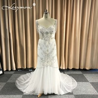 2018 שמלות כלה אמכור מוכן במלאי טול Boho טאסל חרוזים שמלת כלה שמלות כלה גלימת דה mariee