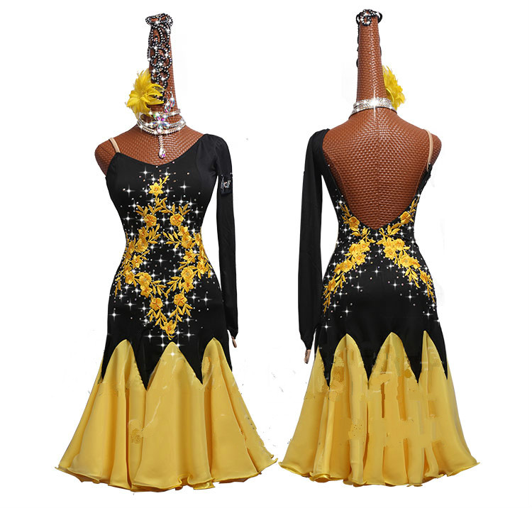 Competition Ladies Latin Dancing Dresses Black Yellow Long Sleeve Skirt Female Stage Professional Chacha Ballroom Garments