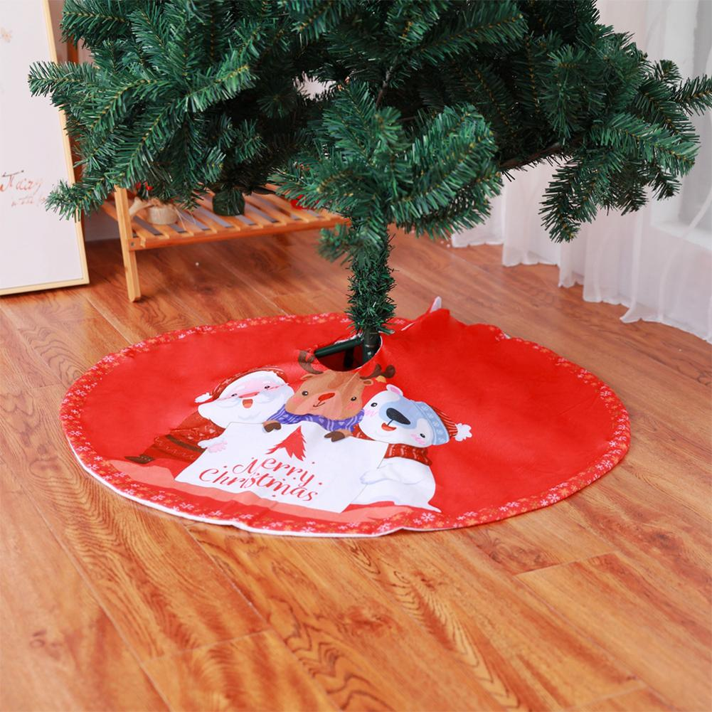 New Year Tree Rug Skirt Floor Mat Home Decor Xmas Tree Carpet Merry Christmas Tree Skirt Red Round Diameter 90cm