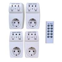 4 stks Draadloze Afstandsbediening Socket, Stekkers Adapters Ondersteuning Handmatige en Afstandsbediening, draadloze Stopcontact EU Plug