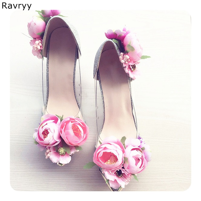 Wedding Party Dress Shoes Beautiful Pink Flowers Decor Woman silver high heel pointed toe sexy pumps slip-on female single shoes black lace flowers high heels pointed toe sexy pumps thin heel slip on elegant women single shoes female party dress shoes