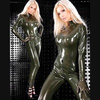 Famale Latex Rubber Catsuit Bodysuit Stocking Sexy Full Cover Body Suit 2 Ways Back Zipped NO