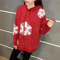 Ladychili Women Clothing Casual Winter Keep Warm Mohair Soft Sweater with Cap Snow Batwing Sleeve Oversized Long Sweater S77