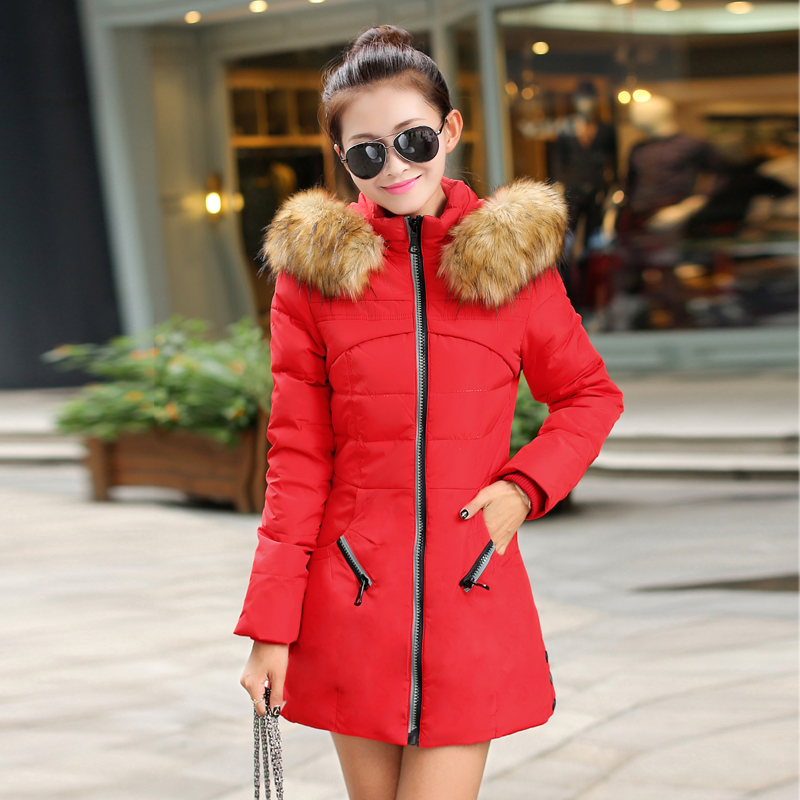 New Women Autumn Winter  Thick Warm Long Cotton Paded Coat Female Jacket Fur Hooded Collar Slim Windbreaker Ladies Coats 2017 2017 new autumn winter women coat thick cotton warm jacket female slim hooded parkas coats with pockets women s clothing