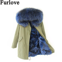 Furlove Thick Raccoon Fur Collar Hood Trim Parka with Colorful Real Fox Fur Lining Winter Fur Coat for Women