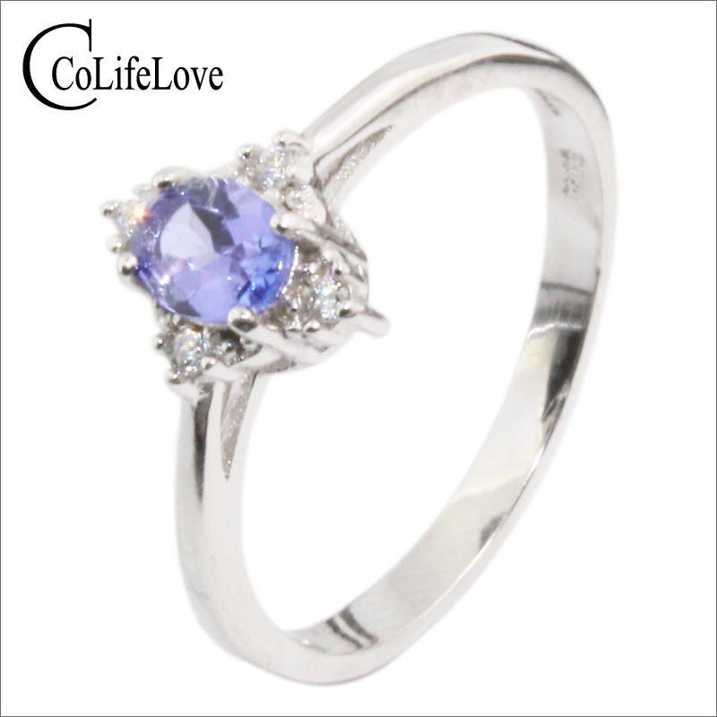 Elegant silver tanzanite engagement ring 4 mm * 5 mm natural VS tanzanite ring steling silver tanzanite ring for wedding jewelry