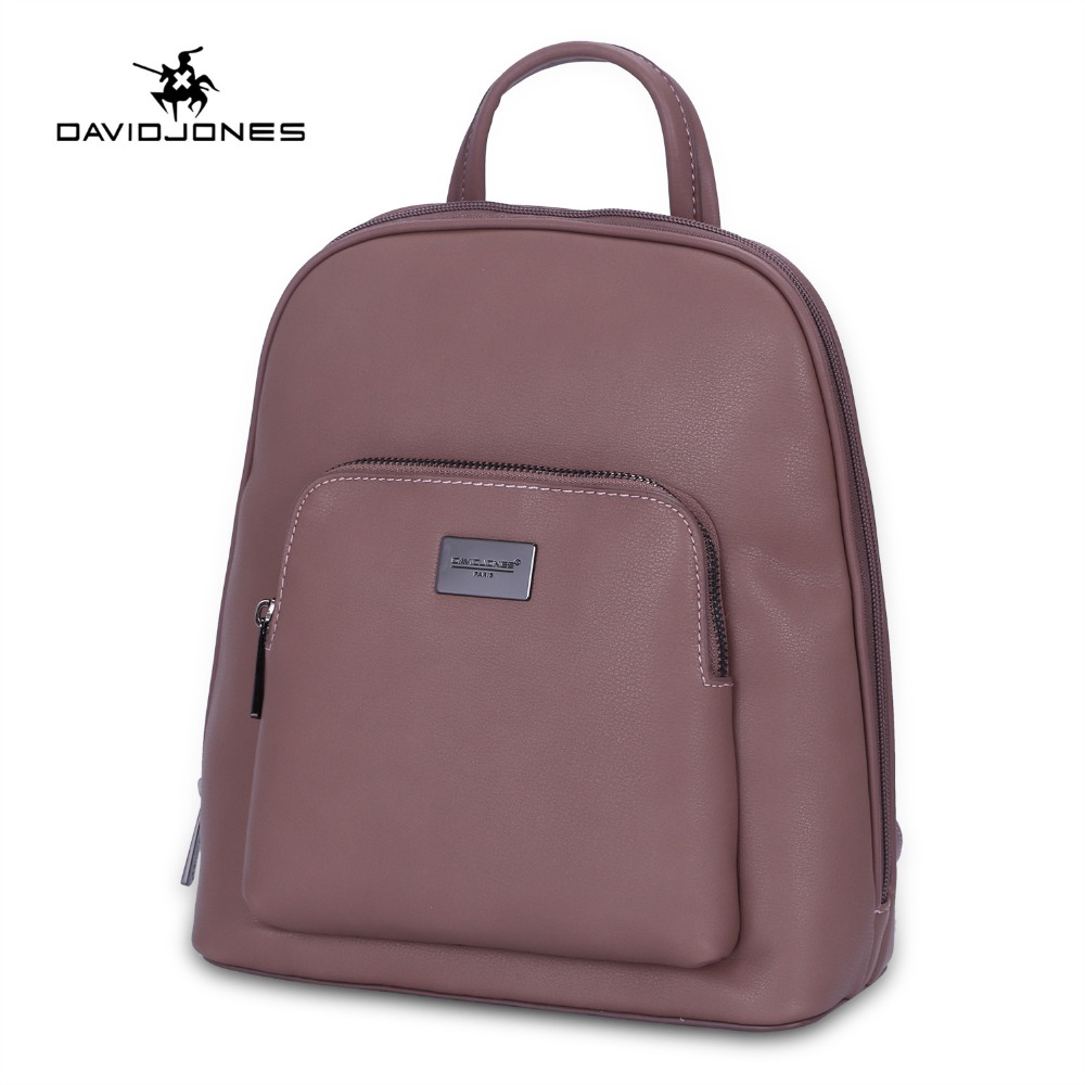 DAVIDJONES women shoulder bags pu leather female backpacks big lady solid school bag girl brand teenager softpack drop shipping