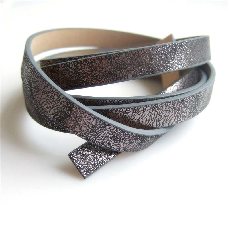 1 meter 3 styles 10*2mm Silver/black Brown Color Bling Fragment Print Leather Cord For Necklace Bracelet Jewelry DIY