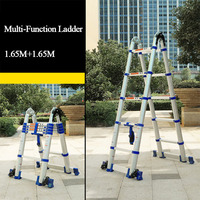 Telescopic ladder herringbone ladder thick aluminum alloy engineering ladder Household folding ladder portable lifting staircase