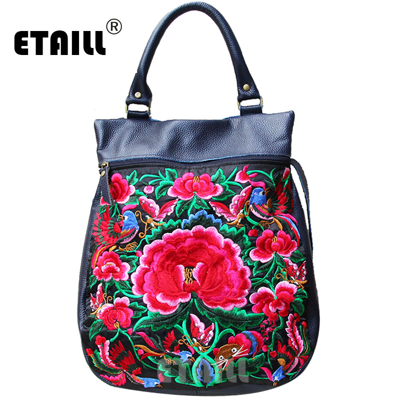 ETAILL 2018 New Floral Birds Embroidered Top Handle Tote Bag Chinese Painted Animal Shoulder Bags Big Pu Leather Crossbody Bags blue off the shoulder random floral embroidered stripe top