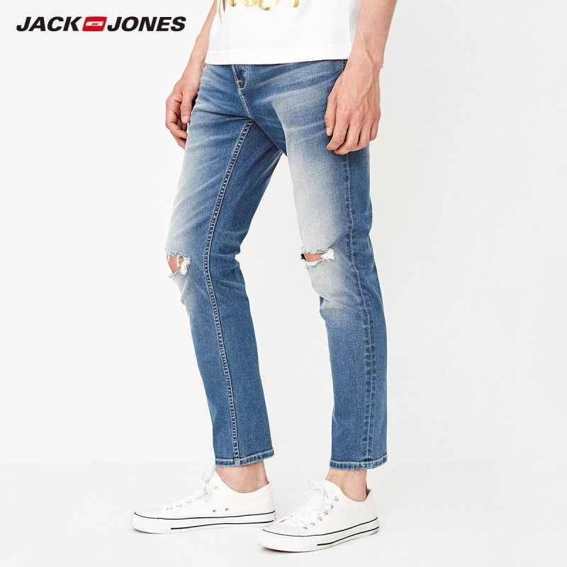 JackJones erkek Sıska Ripped Sıkıntılı Kot erkek Kot Pantolon 218332573