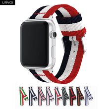 URVOI woven nylon band for apple watch Series 4 3 2 1 strap for iwatch classic styles black silver adapters 40/44mm(China)