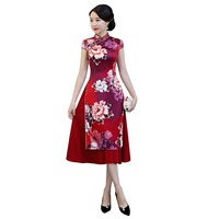 Shanghai Story Chinese Dress Vietnam ao dai Chinese traditional dress Half Sleeve cheongsam dress Knee Length Qipao Dresses