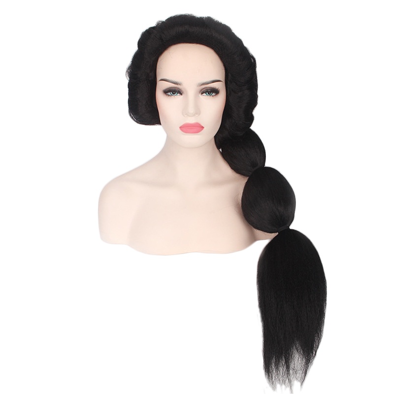 Anime Princess Jasmine Wig Cosplay Costume Aladdin and the magic lamp Women Long Black Synthetic Hair Halloween Party Wigs