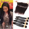 13*4 Ear To Ear Lace Frontal Closure With 3/4 Bundles Peruvian Virgin Hair With Closure Straight aVirgin Human Hair With Closure