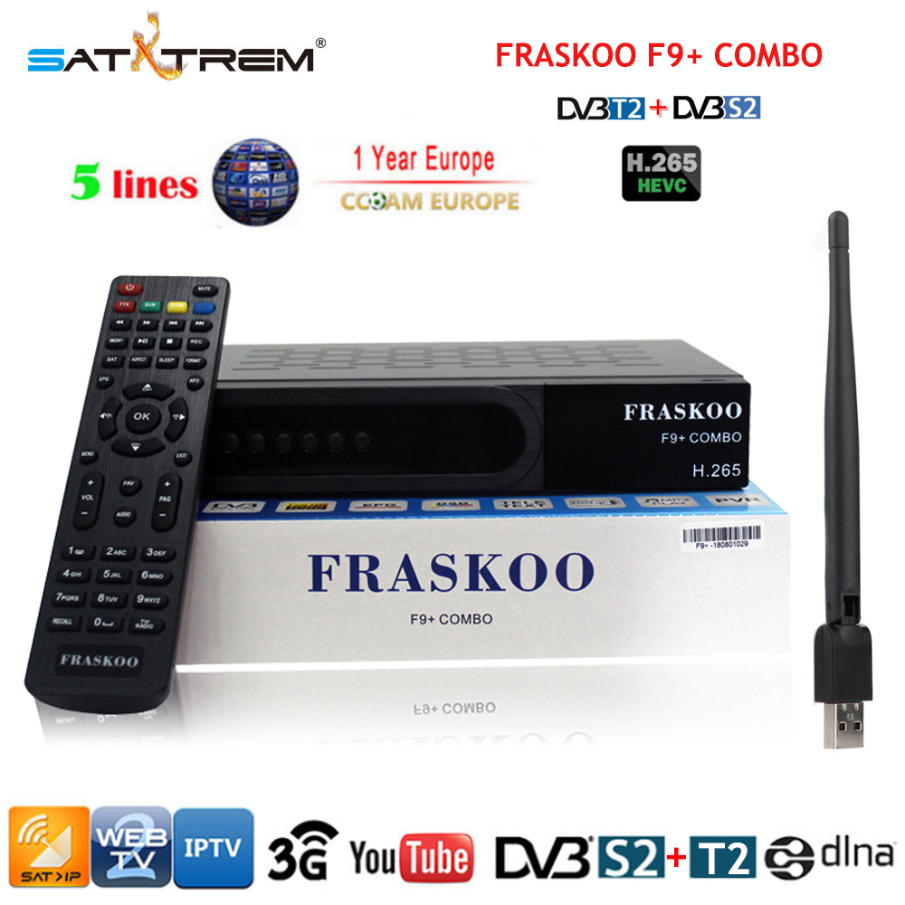 00a17e7dad4bd Satxtrem F9 Plus DVB S2 T2 Tuner H.265 Digital Terrestrial Satellite  Receiver With Cccam Cline For 1 Year Spain Portugal