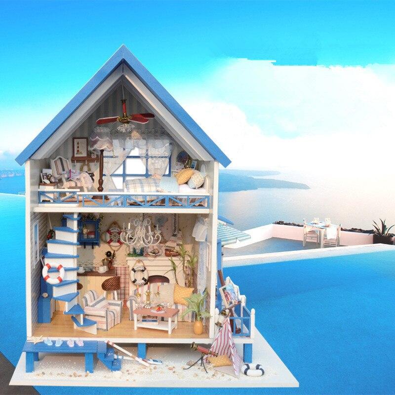 Sylvanian Families House Miniature DIY Dollhouse Romantic Aegean Sea Creative Valentines Day Gift Kids Toys Juguetes Brinquedos sylvanian families морская вечеринка 5207