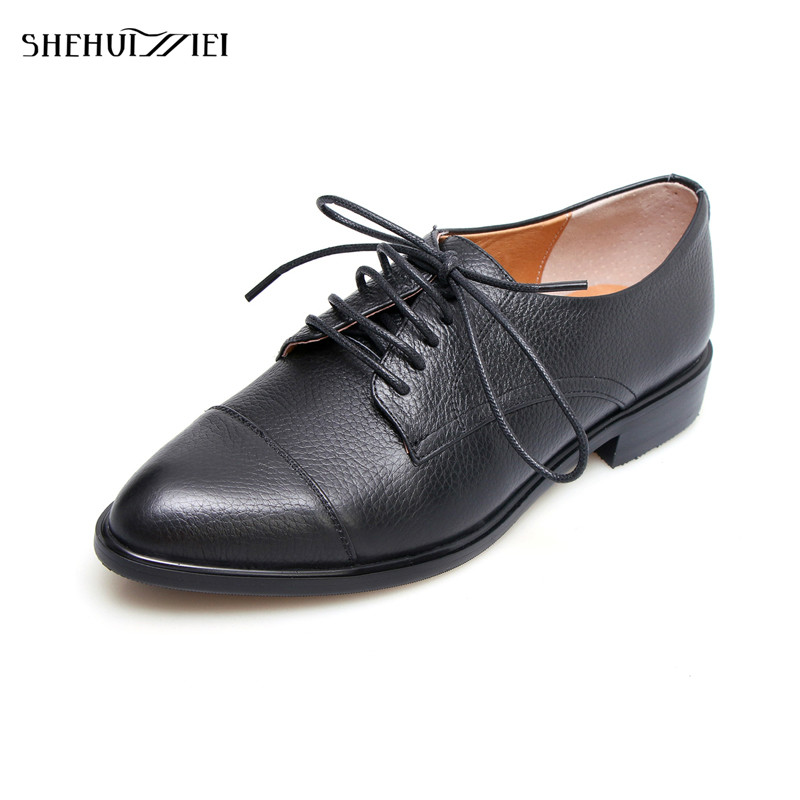 SHEHUIMEI 2018 Women Causal Shoes Genuine Leather Fashion Lace-Up Brogue Shoes Woman Spring/Autumn Women Oxfords Round Toe Flats qmn women genuine leather platform flats women lace cut glossy leather square toe brogue shoes woman lace up leisure shoes 34 39