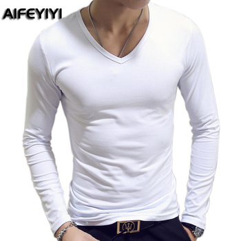 2018 Spring and Autumn Period Army fan men's t-shirt long-sleeved Slim multicolor solid color V-collar men's primer shirt
