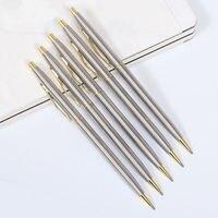10 шт./компл., вращающаяся металлическая шариковая ручка, ручки из нержавеющей стали, коммерческая шариковая ручка, канцелярские принадлежно...