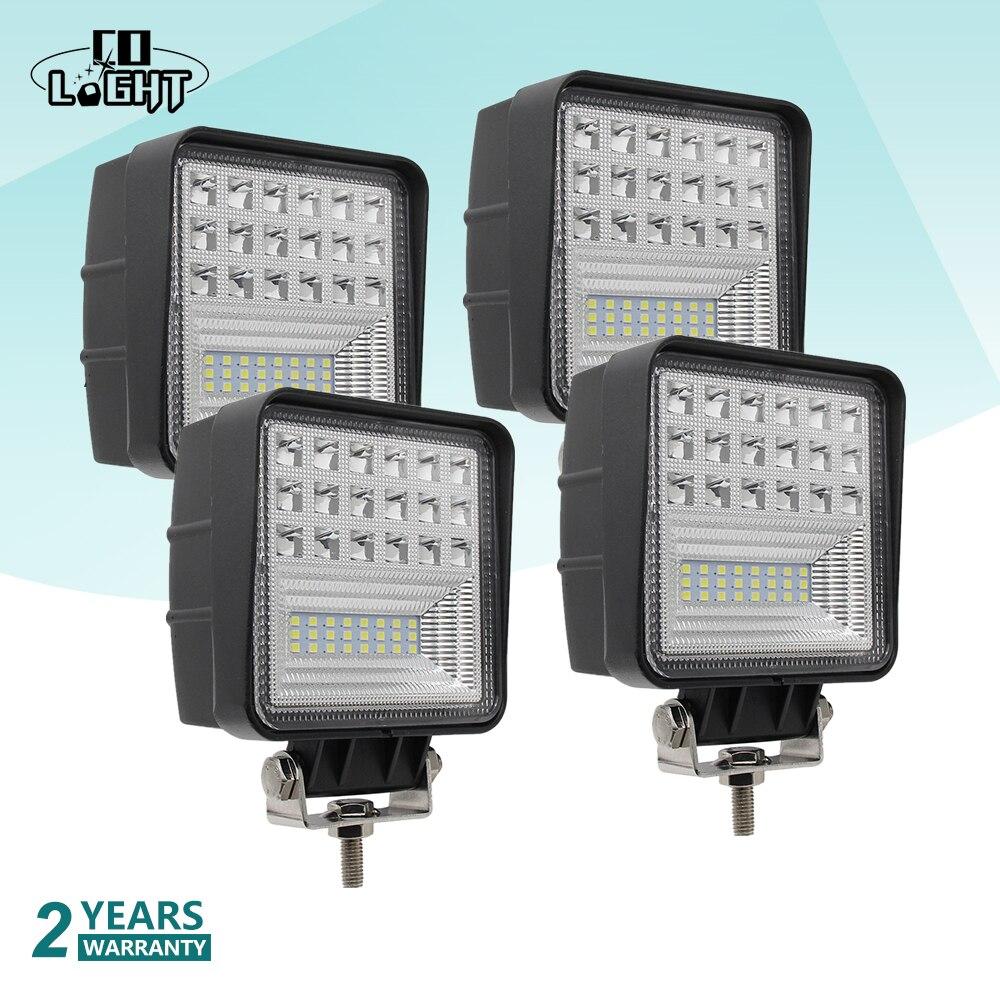 CO LIGHT 4Pcs Off Road Work Light 63W Flood 4.3'' Led Lights For Auto Lada Niva Toyota Tractor Truck Led 12 Volt 4X4 Accessories цена