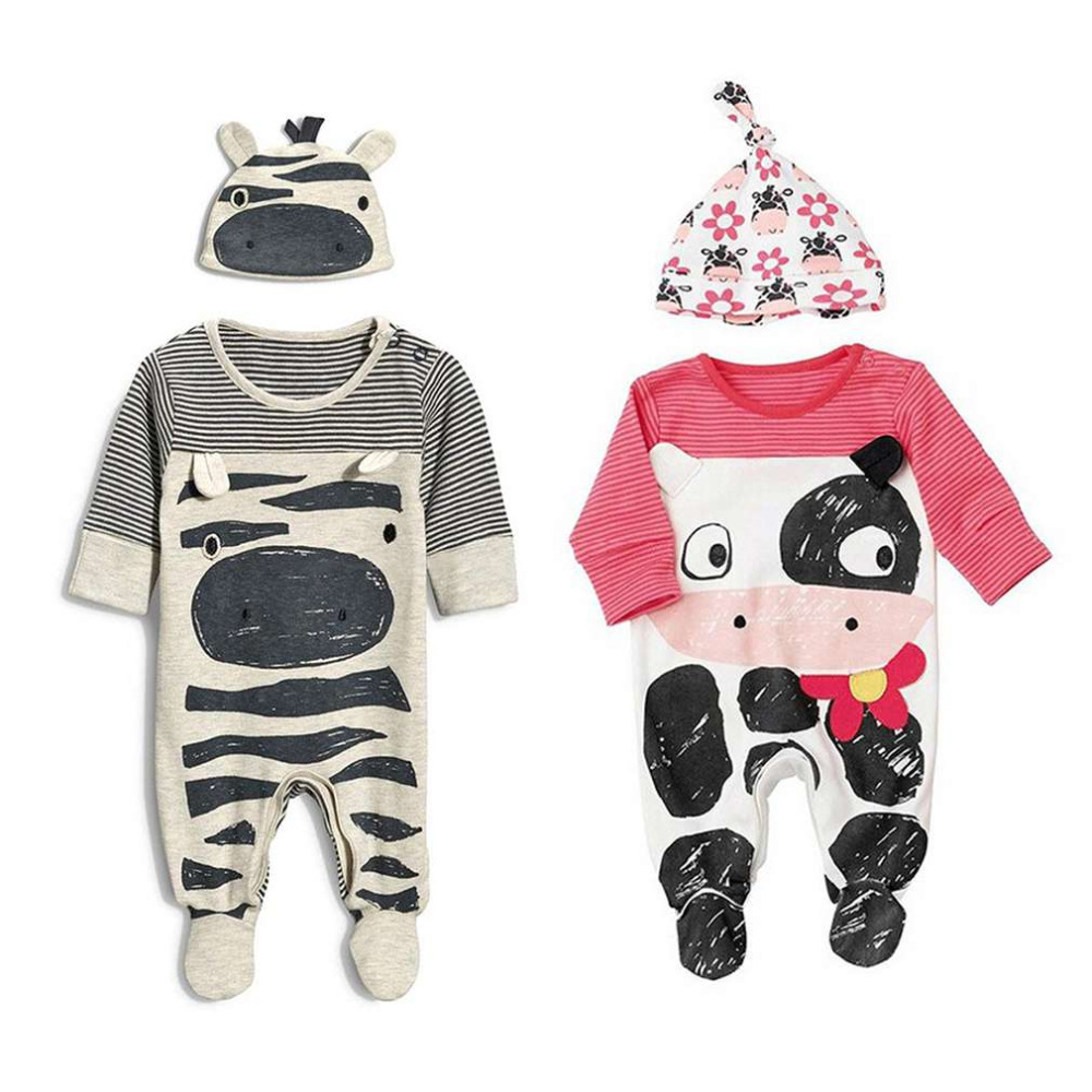 Hot! Toddle Infant Baby Kids Boys Girls Romper With Hat Jumpsuit Bodysuit Set New Sale
