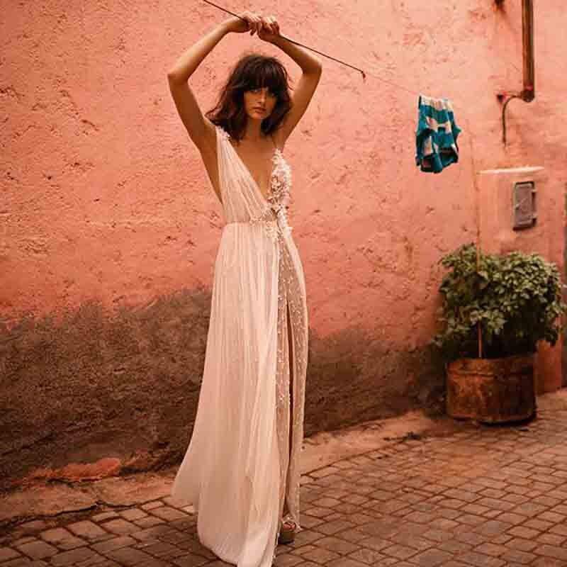 LORIE Princess Wedding Dress V Neck Appliqued With Flowers A-Line Side Split Bride Dress Backless Boho Wedding Gown