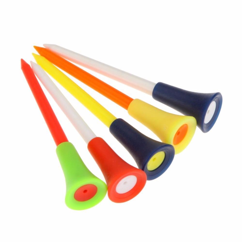 50 Pcs/lot Plastic 83mm Golf Tees Durable Rubber Cushion Top Tee Golves Accessories Multi Tool Wholesale Random Color