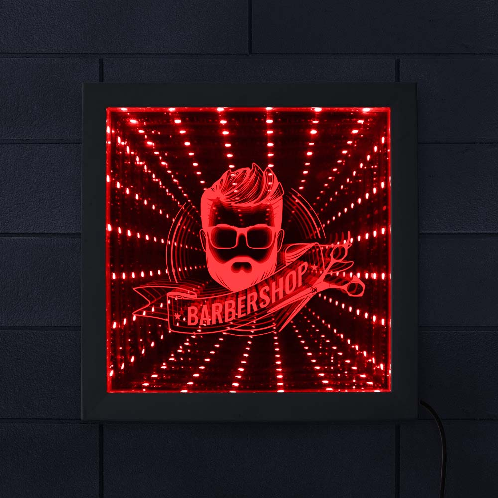 Fashion Men Beard Hairstyle LED Infinity Mirror Barber Shop Business Logo Wall Sign Infinity Mirror Frame Infinite Reflections