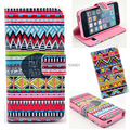 Aztec Tribal Tribe Pattern Retro Flip Case for iPhone 5 5S with Card Holder Leather Wallet Stand Cover AB0613