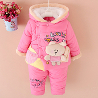 NEW Baby Set 2015 Winter BABY Girl Cartoon Coat Thick Warm Coat Pants Warm Winter Outerwear
